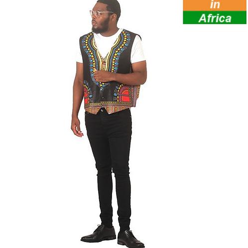 Traditional Print Vest: Black