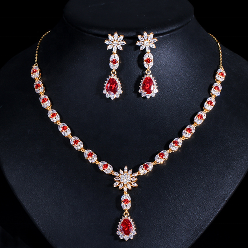 exquisite red water drop bridal necklace earring jewelry sets for women engageme