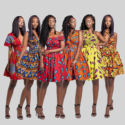 2021 Hot Sale Wholesale African Styles Casual High Waist A-Line Mini Dress Afric