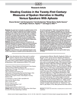 Stealing Cookies in the Twenty-First Century: Measures of Spoken Narrative in Healthy Versus Speakers With Aphasia