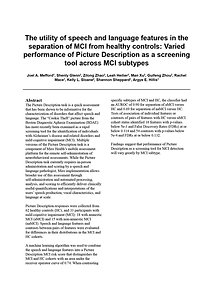 The utility of speech and language features in the separation of MCI from healthy controls: Varied performance of Picture Description as a screening tool across MCI subtypes