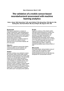 The validation of a mobile sensor-based neurobehavioral assessment with machine learning analytics