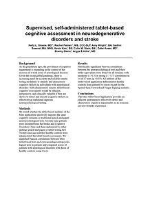 Supervised, self-administered, tablet-based cognitive assessment in neurodegenerative disorders and stroke