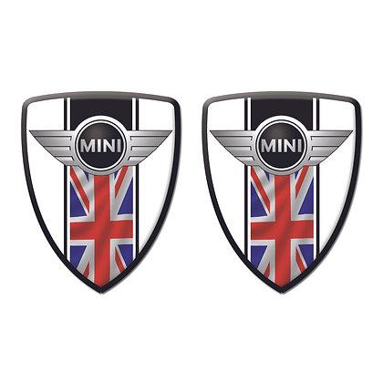 Mini Cooper White Shield x2pcs s.n: M1523