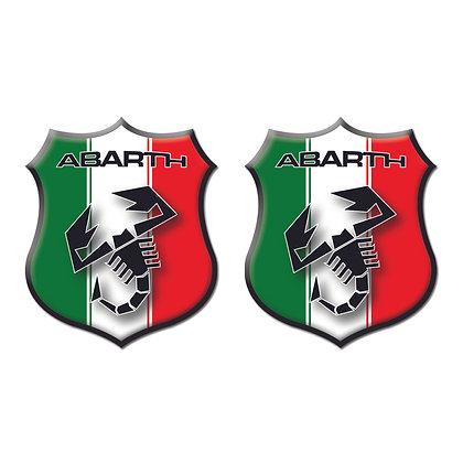 Abarth Italy Flag Shield x2pcs s.n: 00124