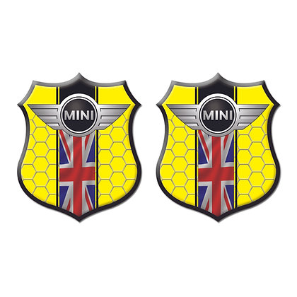 Mini Cooper Yellow Shield x2pcs s.n: M1533