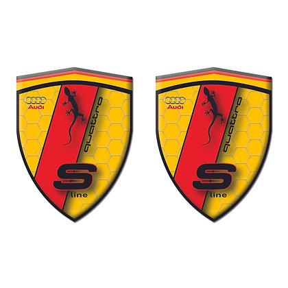 Audi Quattro Orange Shield x2pcs s.n: AA233