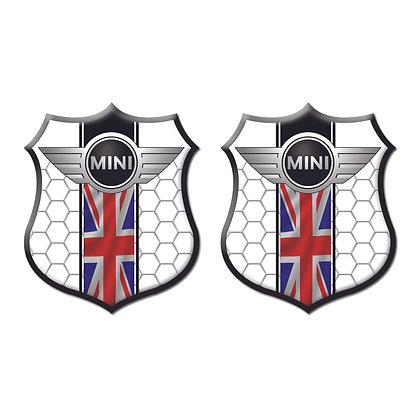 Mini Cooper White Shield x2pcs s.n: M1532