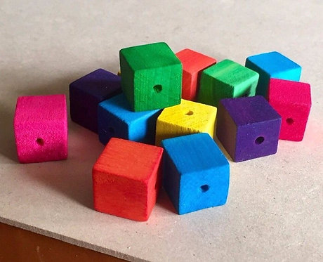5 x Colour Wooden Cube Beads