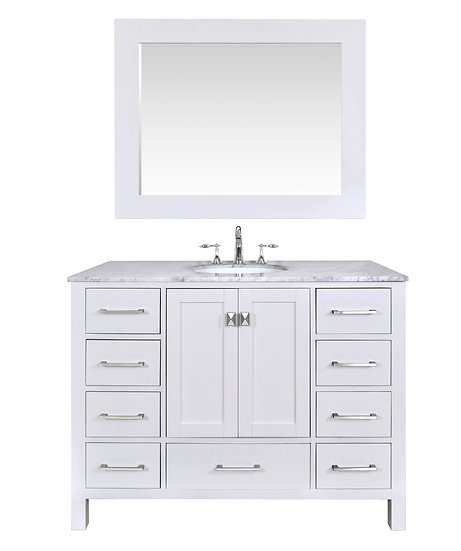 "48"" Malibu Pure White Single Sink Vanity with Mirror"