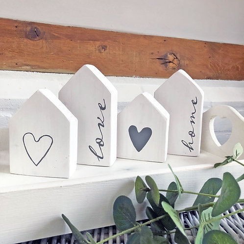 Hand painted Scandi-style home accessories. White houses with hearts
