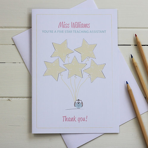 Teacher/teaching assistant thank you card - You're a five star ...