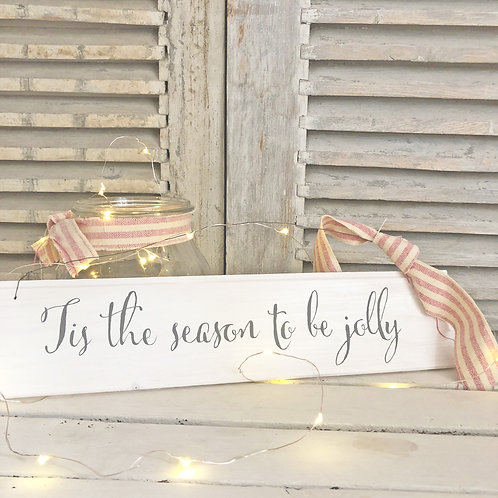 Hand painted wood Christmas sign - Tis the season to be jolly