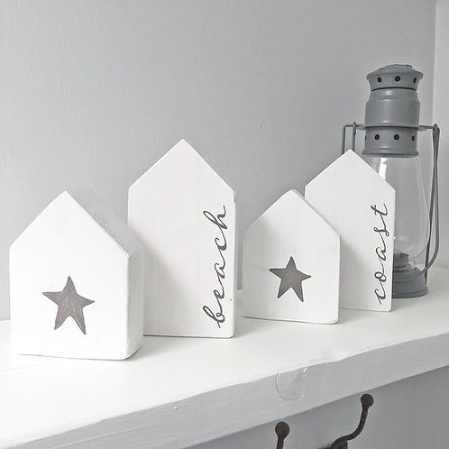 Hand painted Coastal home accessories. White house set