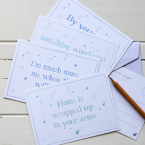 4. Postcard set - four inspirational/love quote postcards with envelopes Active