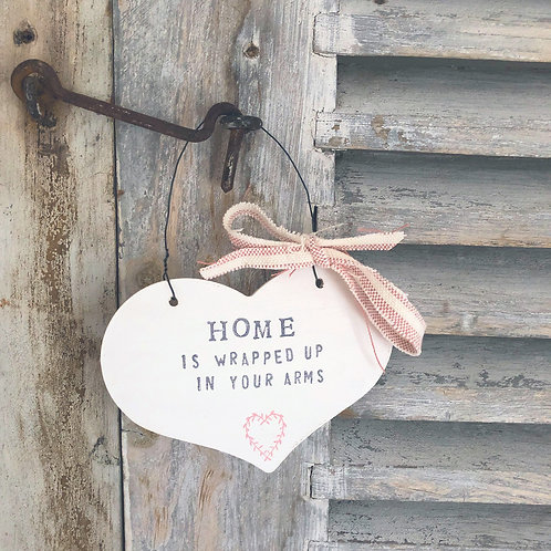 Hanging heart wood sign - Home is wrapped in your arms