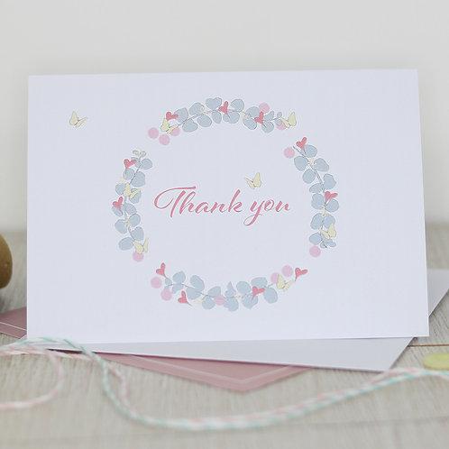 Thank you card (Pretty eucalyptus & butterfly wreath)