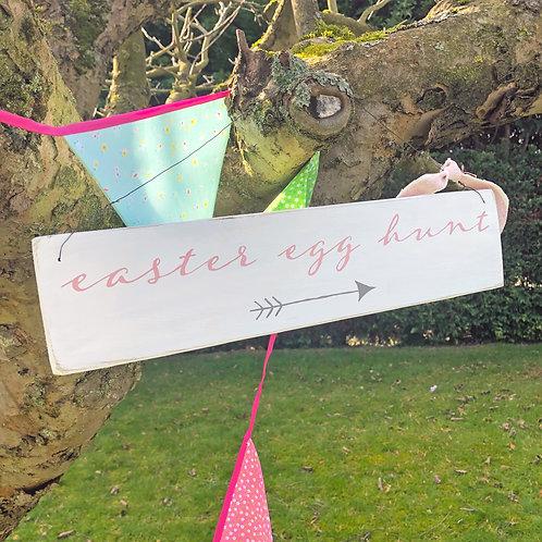 Easter Egg Hunt - hanging sign. Hand painted