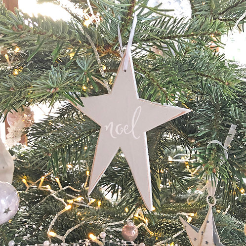 Wood star Christmas decorations. Pink or Grey. Hand painted