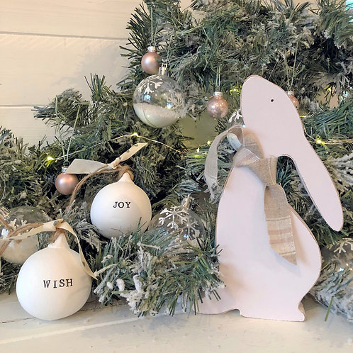 Wood hare ornament - hand painted