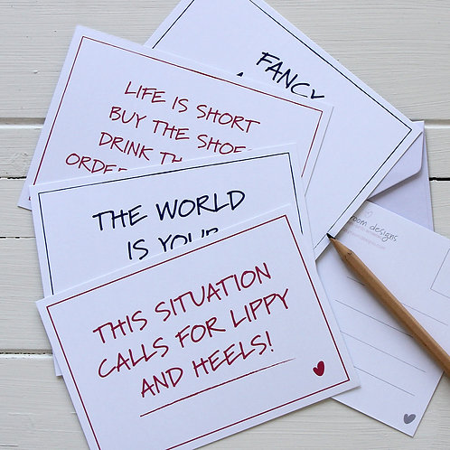 6. Postcard set - four inspirational/funny quote postcards with envelopes