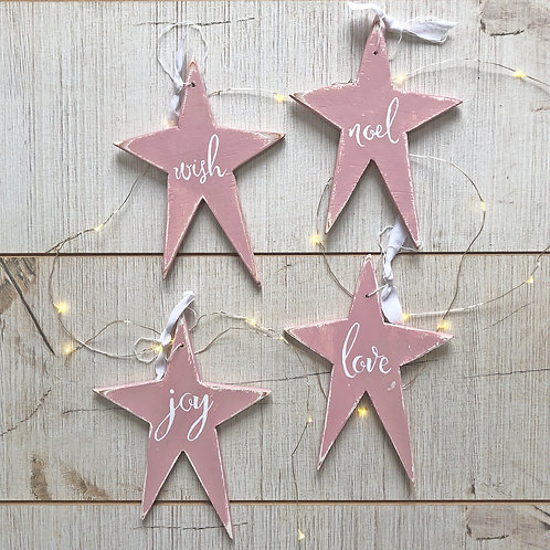 Hand painted wood star christmas decorations - set of four. Pink or Grey.