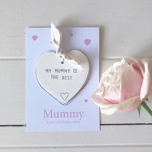 Personalised wood heart message tokens