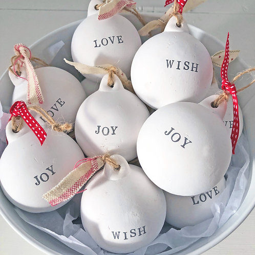 Set of 3 Ceramic baubles Christmas decorations - Love, Joy, Wish