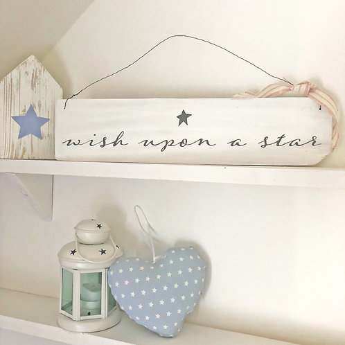 Home accessory - Wish upon a star. Hand painted sign.