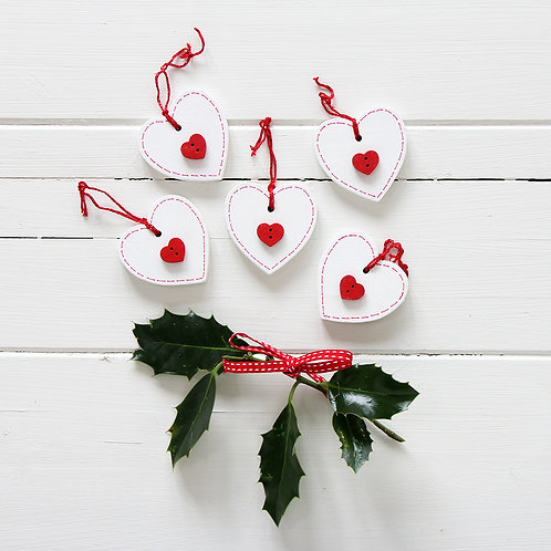 Wood heart Christmas decorations