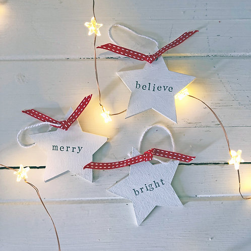 Christmas wood star decorations - Love, Joy, Wish, Bright, Merry, Believe