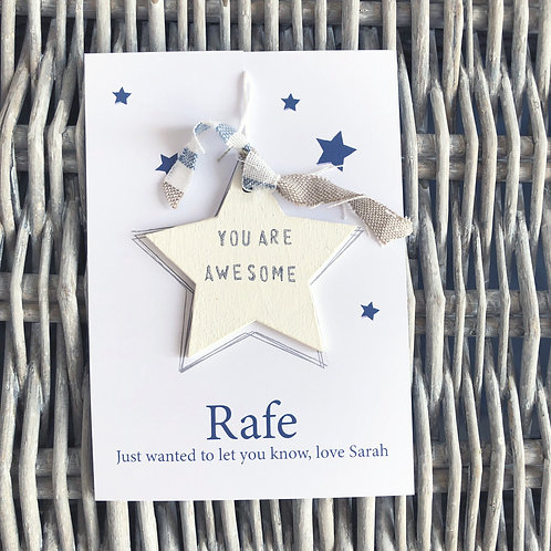Personalised wood star message tokens