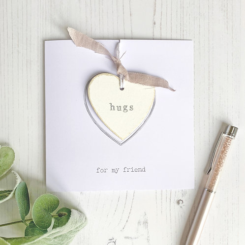 Send a hug greetings card - with heart keepsake | Personalised