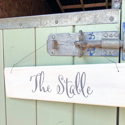 Hand painted wood garden sign - The Stable