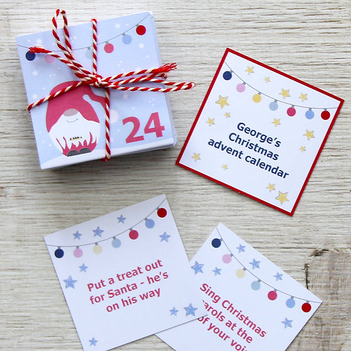 Kids alternative Christmas advent calendar - personalised