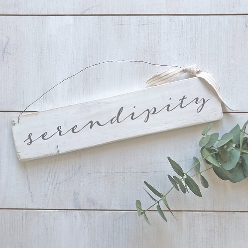 Serendipity sign - hand painted. Reclaimed wood.