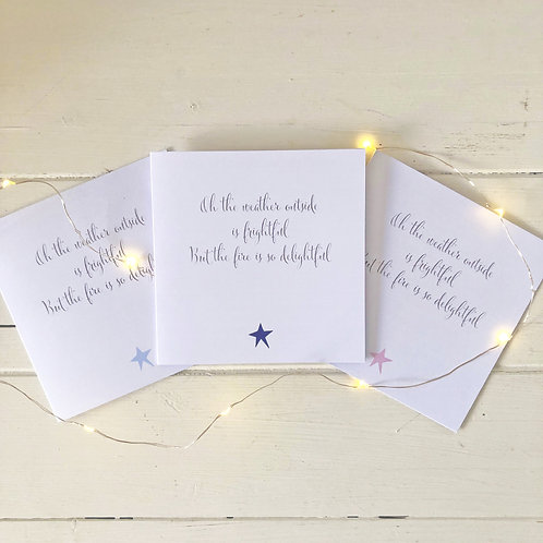 Christmas card set of 6 - Oh the weather outside is frightful
