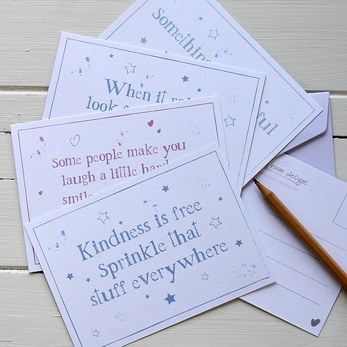 2. Postcard set - four inspirational quote postcards with envelopes Active