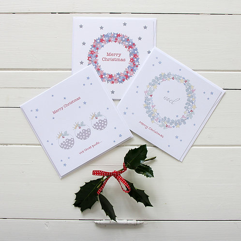 Christmas puds & wreaths cards (Set of 6)