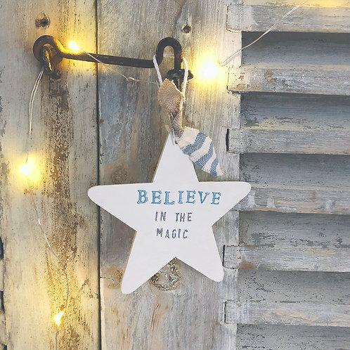 Hanging Star wood sign (Christmas decoration)