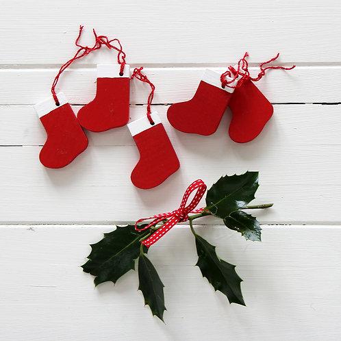 Wood Christmas stocking decorations