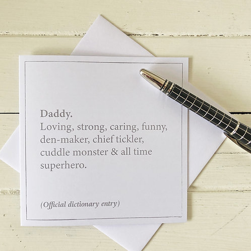 Daddy dictionary definition Father's Day card