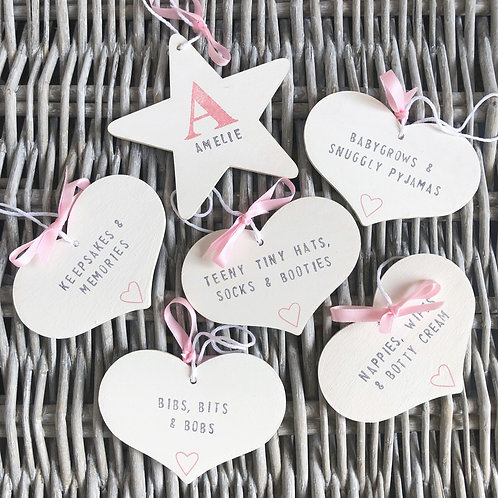 New baby personalised star & nursery storage tags gift set