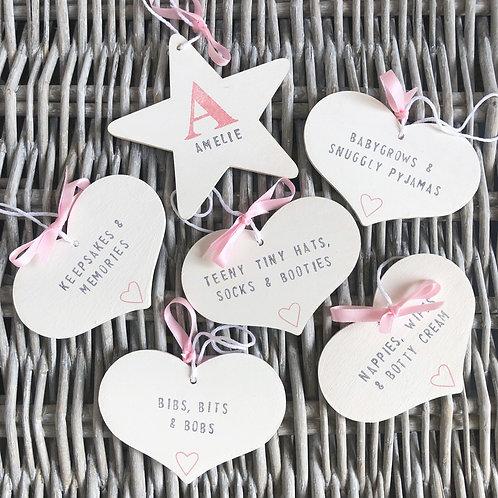 New baby personalised star & nursery storage tags gift set