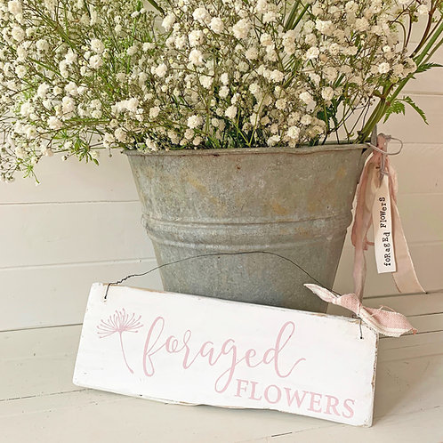 Foraged Flowers hanging sign - country home decor