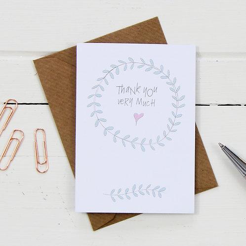 Set of six A7 thank you cards & kraft envelopes