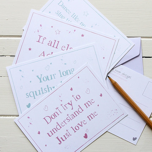 3. Postcard set - Four inspirational quotes postcards with envelopes