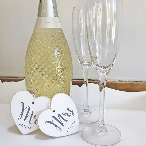 Personalised wood heart Mr & Mrs, Mr & Mr or Mrs & Mrs wedding date signs