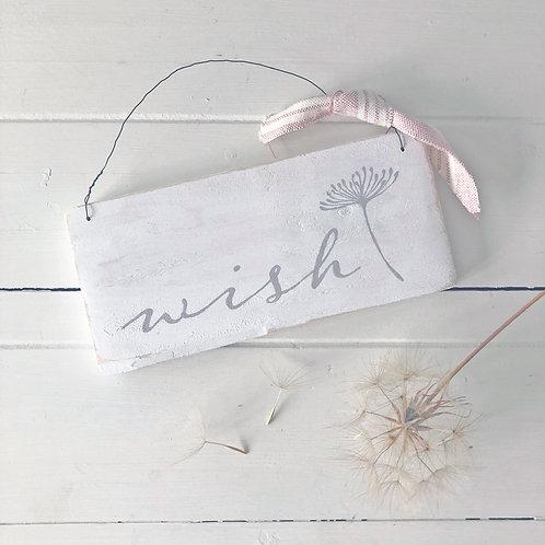 Hand painted wish sign. Dandelion design