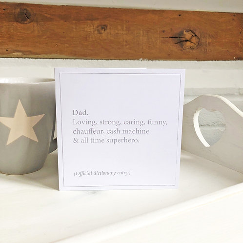 Dad - dictionary definition Father's Day card